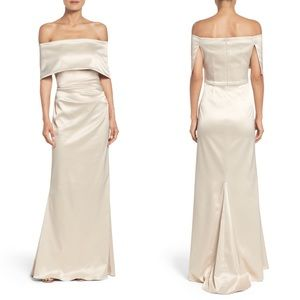 NWT champagne off shoulder Vince Camuto gown